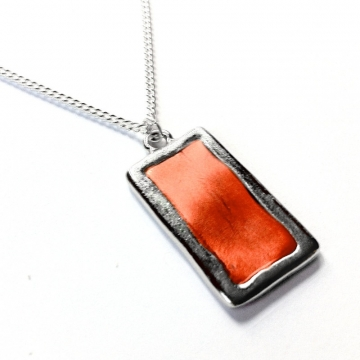 Simple Rectangular Silver and Orange Necklace