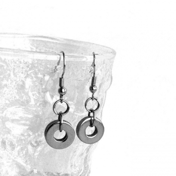 Stainless Steel Simple Open Circle Earrings Silver