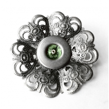 Green and Silver Pin Metal Flower Brooch