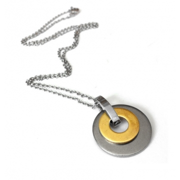 Womens Stainless Steel and Brass Circle Pendant Necklace