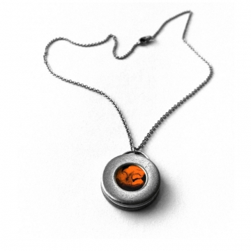 Mens Orange and Steel Circle Necklace