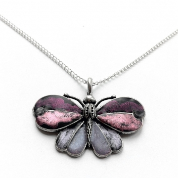 Silver Butterfly Necklace - Pink and Purple Jewelry