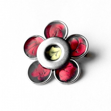 Small Silver Red Artisan Flower Lapel Pin