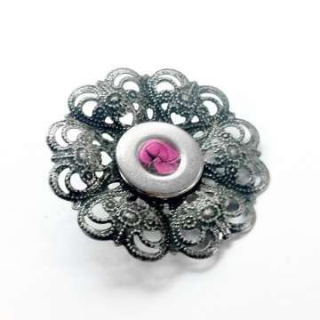 Antique Silver Filigree Flower Brooch Hot Pink Lapel Pin