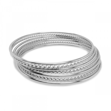 316L Stainless Steel Bangle Bracelet Set for Women Twisted and Round (Set of 7)