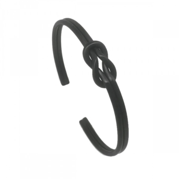 Black Inifinity Love Knot Cuff Bracelet - Adjustable
