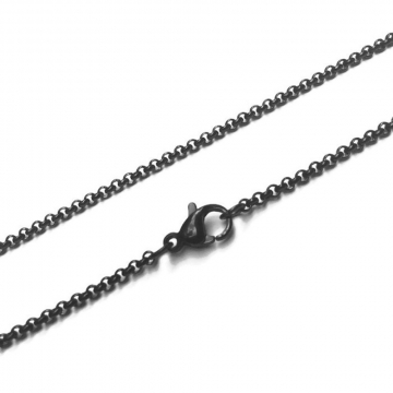 Black Stainless Steel Necklace Circle Link Rolo Chain - 2mm