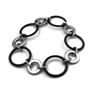 Stretch Bracelet Stainless Steel and Black Rubber
