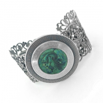 Silver Filgree Cuff Bracelet with Marbled Iridescent Green Center