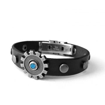 Black Leather Bracelet with Moveable Gear Center