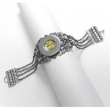 Antique Silver and Yellow Multi Strand Victorian Gothic Bracelet