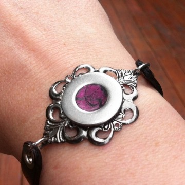 Punk Rock Black Leather and Silver Bracelet for Women