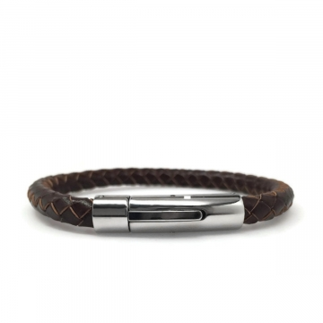 Chocolate Brown Braided Leather Bracelet with Stainless Steel Locking Clasp