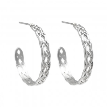 Womens Braided Open Hoop Stud Earrings Stainless Steel