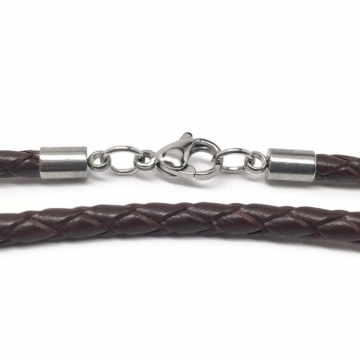 Brown Braided Leather Necklace Cord (3mm) with Stainless Steel Lobster Clasp (16-24 Inch)