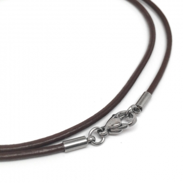 Thin Brown Leather Necklace Cord with Stainless Steel Silver Lobster Clasp (2mm)