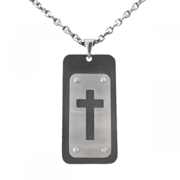 Mens Classy Stainless Steel Dog Tag Cross Pendant Necklace Two-Tone