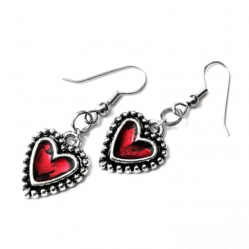 Silver and Red Heart Love Earrings