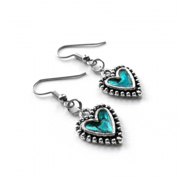 Teal and Silver Heart Earrings Handmade Resin Center
