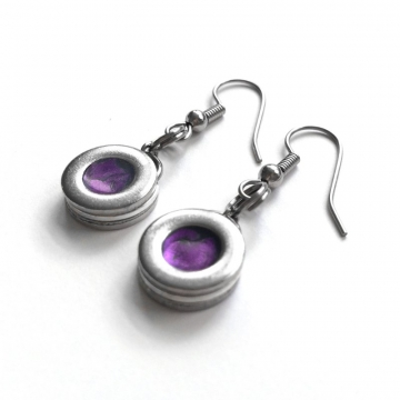 Dark Purple and Stainless Steel Dangle Earrings