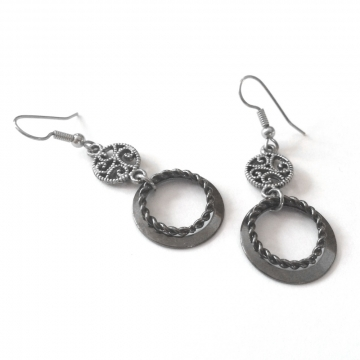 Surgical Steel and Black Circle Earrings