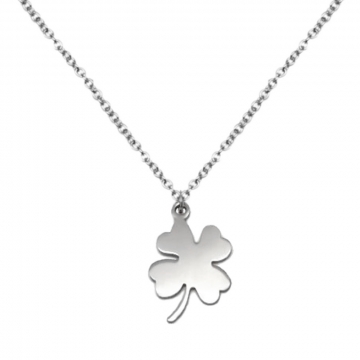 Womens Simple Silver Lucky Four Leaf Clover Stainless Steel Pendant Necklace