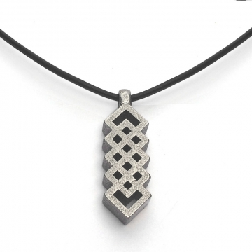 Mens Vertical Celtic Knot Necklace on Black Leather Cord