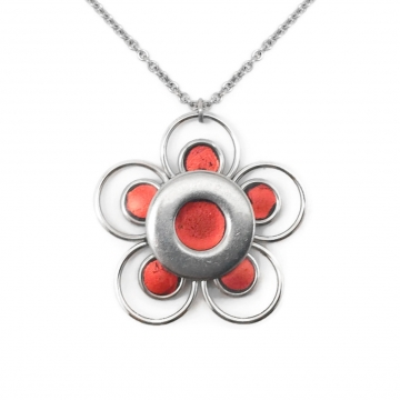 Orange Flower Necklace Stainless Steel - Customizable