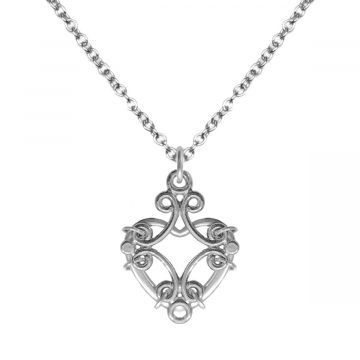 Edgy Filigree Heart Necklace Stainless Steel