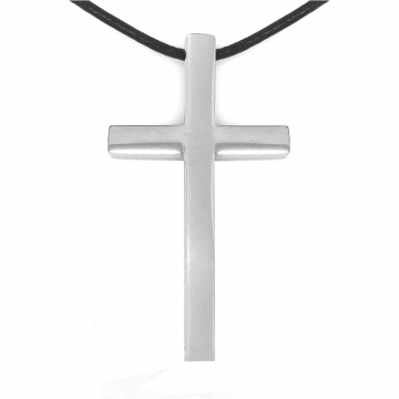 Large Mens 316L Stainless Steel Cross Necklace on Black Leather Cord