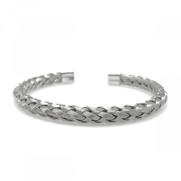 Womens Silver Stainless Steel Metal Wire Braided Cuff Bangle Bracelet