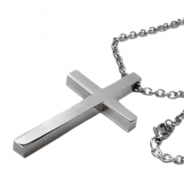 Large Mens Simple Stainless Steel Cross Necklace on 3mm Steel Chain