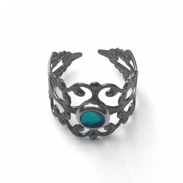 Womens Gothic Filigree Ring - Adjustable