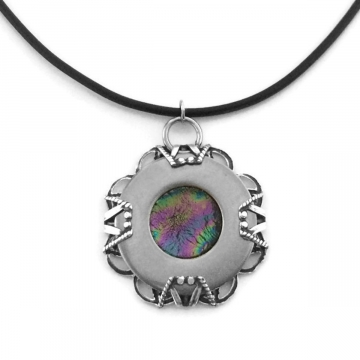Medieval Stainless Steel Round Filigree Pendant Necklace - Double Sided
