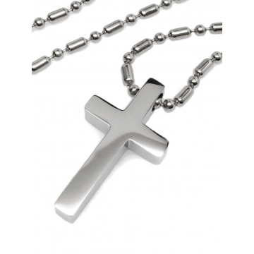 Stainless Steel Small Mens Simple Cross Necklace (18 to 30 Inch Bead Chain)