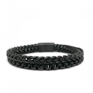 Mens Double Black Chain Link Bracelet Stainless Steel Magnetic Clasp
