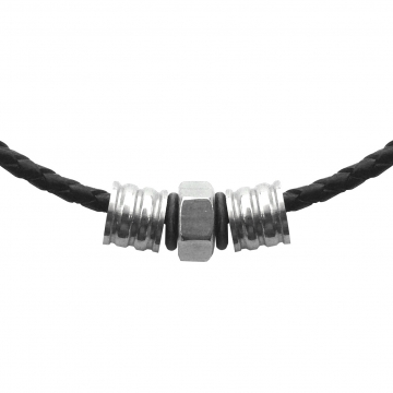 Men's Braided Black Leather Necklace with Stainless Steel Slides