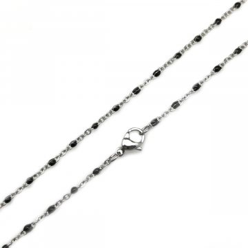 Thin Stainless Steel and Black Resin Necklace Chain 1.5mm