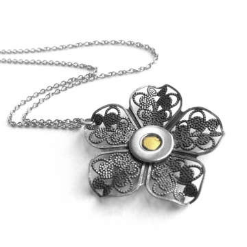Yellow and Antique Silver Filigree Flower Necklace