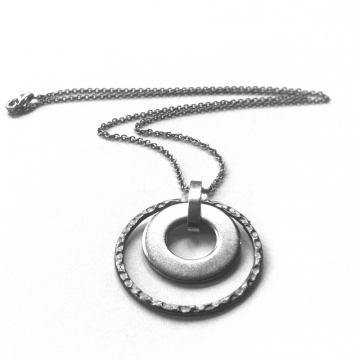 Eternity Necklace Silver Two Circle Pendant Stainless Steel