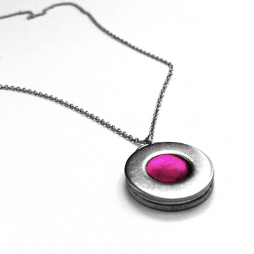 Silver Steel Circle Necklace Colorful Hot Pink Center