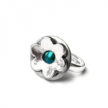 Adjustable Silver Flower Ring for Women and Teen Girls