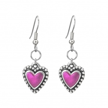 Hot Pink and Silver Rock N Roll Dangle Heart Earrings Resin Center