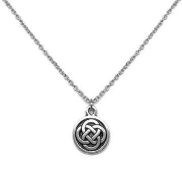 Womens Small Silver and Black Round Celtic Knot Charm Necklace