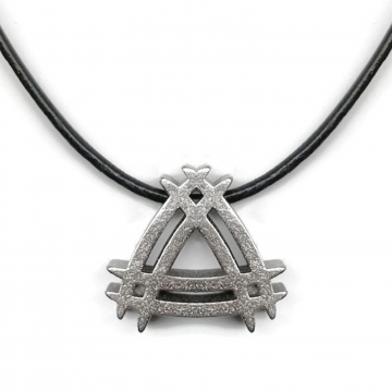 Stainless Steel Tribal Symbol Necklace Leather Cord
