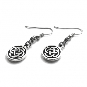 Silver Pewter Celtic Knot Circle Dangle Earrings
