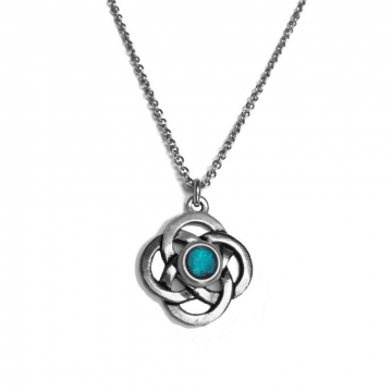 Womens Teal Silver Celtic Knot Pendant Necklace - Customizable Color