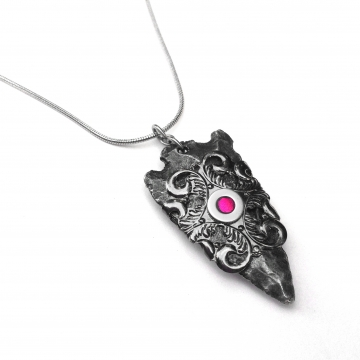 Steel Filigree Arrowhead Pendant Necklace
