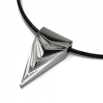 Unisex Mens Womens Stainless Steel Silver Triangle Necklace Leather Cord