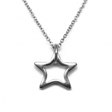 Stainless Steel Silver Open Star Necklace